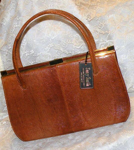 Vintage Leather Purse W Mirror Suzy Smith Genuine Handbag Made In England Marquessa Pocketbook 1960s