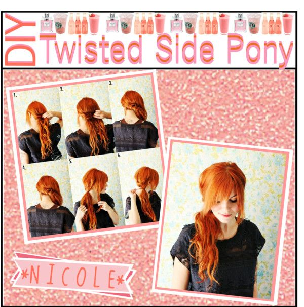 """""""DIY: Twisted Side Pony"""" by tipstipstips ❤ liked on Polyvore"""