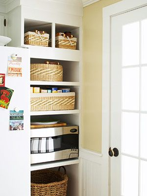 A Budget-Friendly Kitchen Makeover | Large baskets, Storage and Shelves