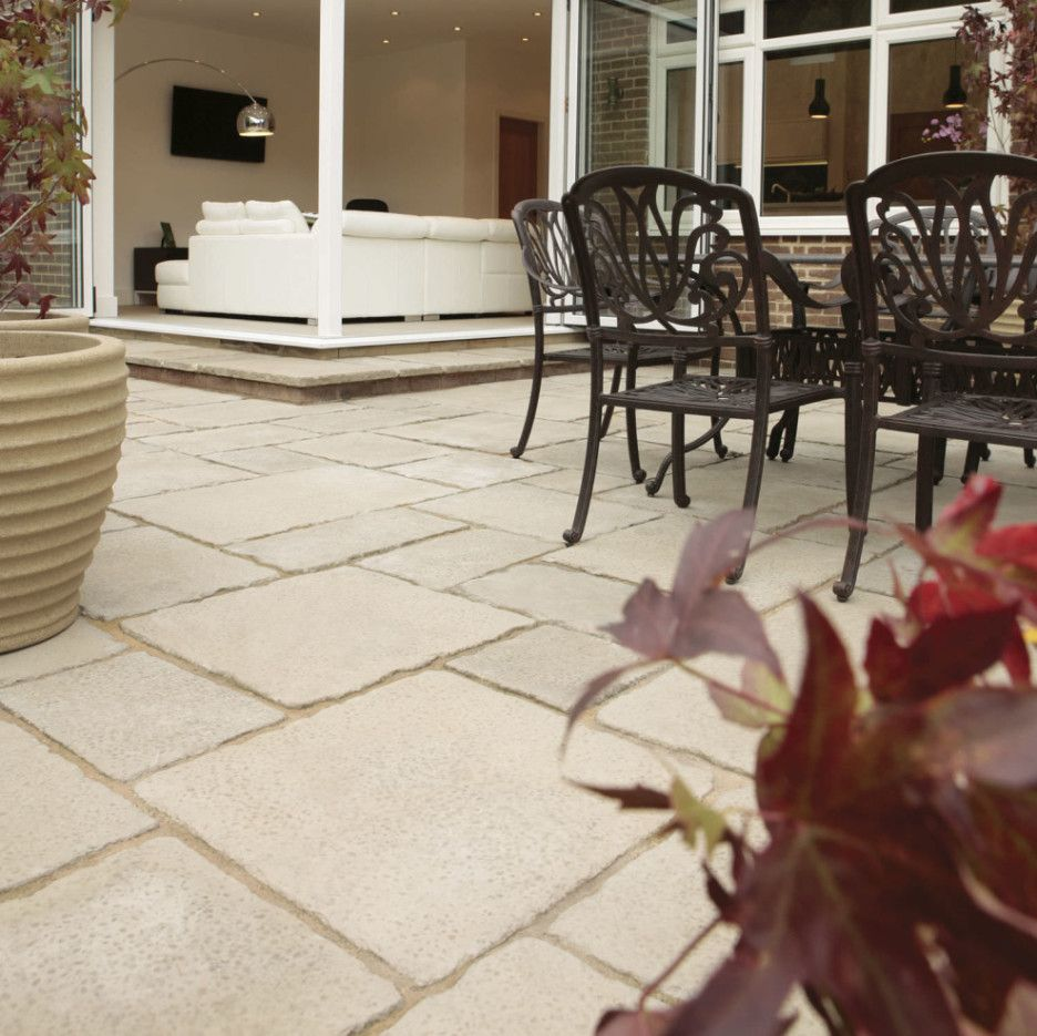 Wonderful Exterior Garden Decoration Design In Outdoor Patio Flooring Ideas  : Endearing White Travertne Stone Tile Flooring Patio With Black Metal  Chair For ...