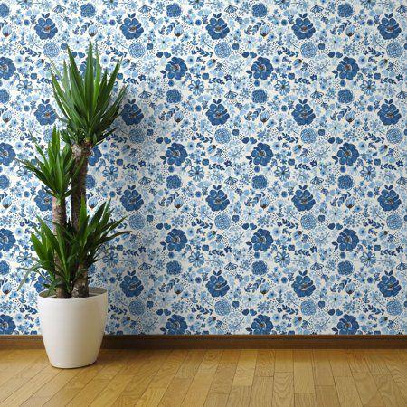 PeelandStick Removable Wallpaper Blue Floral Hand