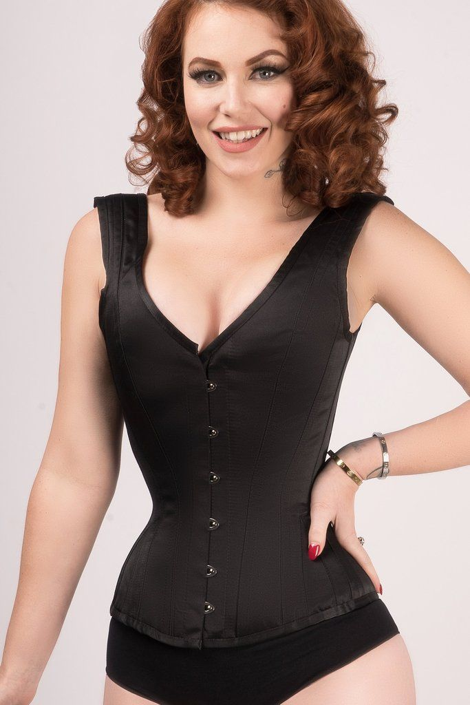 5222526ff4 ... Corset Story US. Find this Pin and more on Up Top by Kelly Maxwell.  Classic Waist Taming Black Satin Overbust With Straps ...