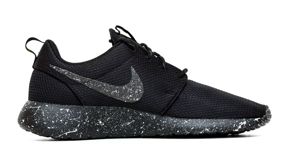 Nike Roshe One Customized by Glitter Kicks - Oreo Black   White Paint  Speckle e9e1f3474c27