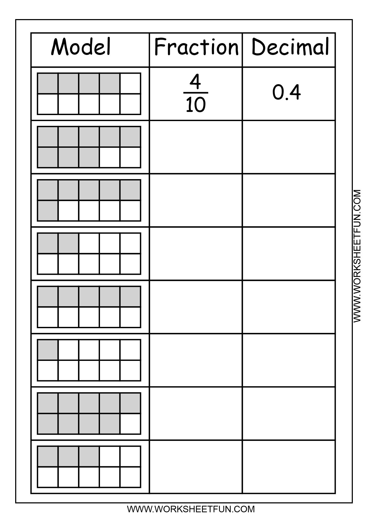 Model Fraction Decimal 2 Worksheets Free Printable