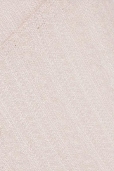 Beige Elsa cable-knit pajama pants | Eberjey