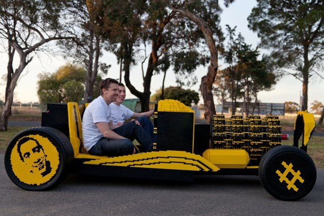 Raul's amazing 'Lego car' can reach speeds of 20mph. (SWNS) : Source: http://uk.news.yahoo.com/talented-engineer--20--makes-working-car-out-of-half-a-million-lego-bricks-121958237.html?vp=1#h5AyAdK