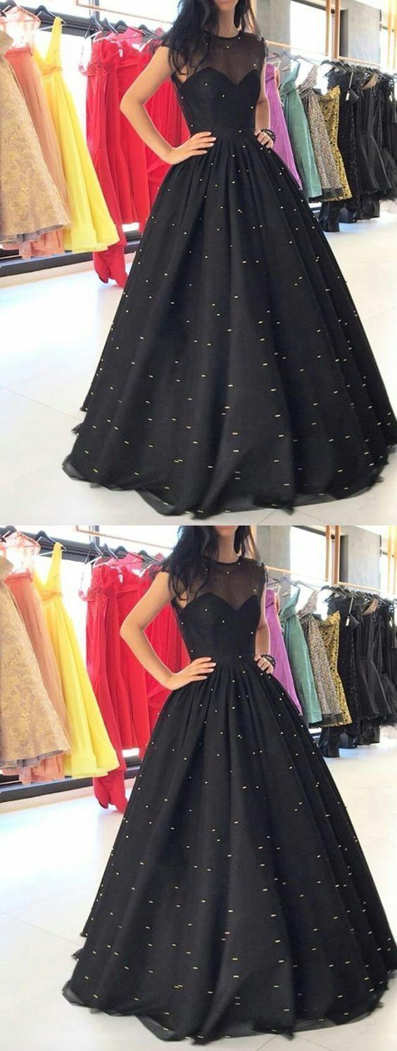 Vintage Rundhals Tüll Abiballkleid und schwarzen Satin lange