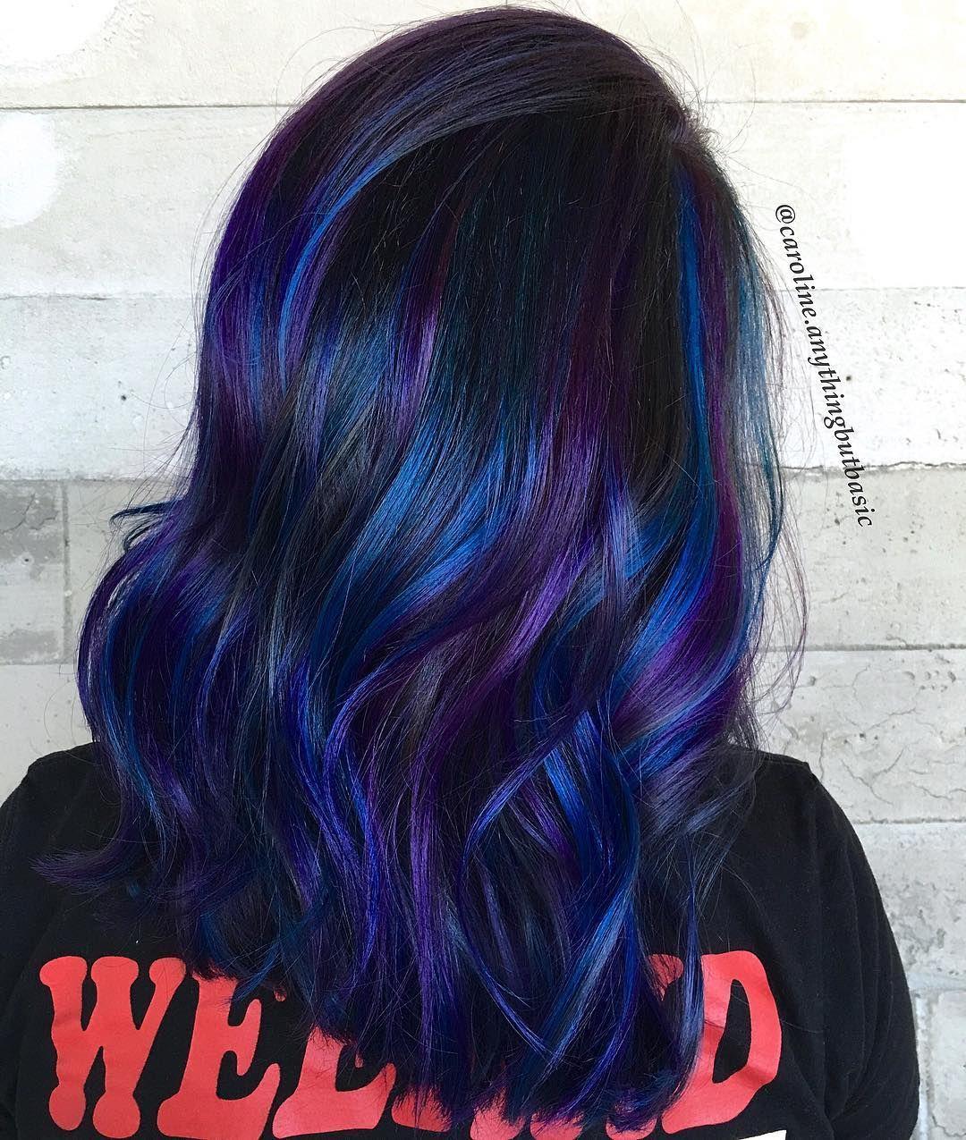 Blue and purple highlights fun summer hair pinterest purple