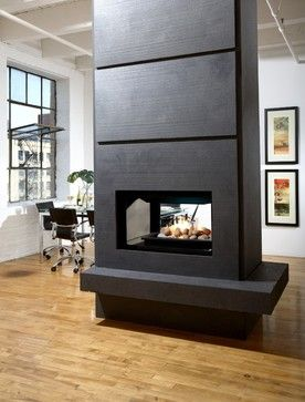 Whole House Example Of Family Room Dining Room Fireplace Column