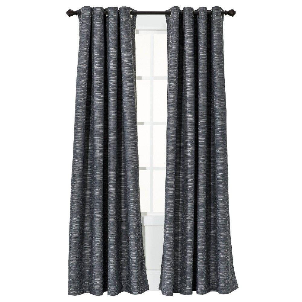 "Uptown Striped Light Blocking Curtain Panel Gray (54""X95"") - Threshold"