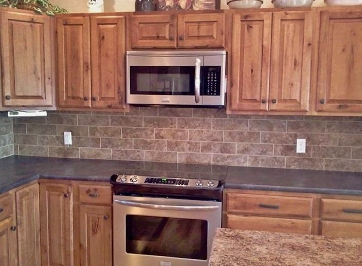 Kitchen Backsplash Done Medallion Knotty Maple Cabinets Basalt