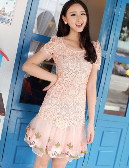 Amazing Round collar Pleated Pink Casual Dress #ShopSimple