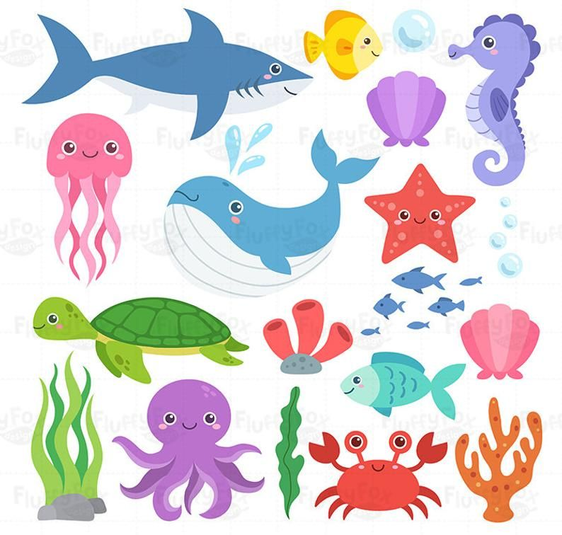Ocean Animal Clipart Sea Animals Clip Art Marine Life Creatures Crab Fish Whale Jellyfish Shark Octopus Underwater Graphic Png Download In 2021 Animal Clipart Ocean Animals Sea Animals