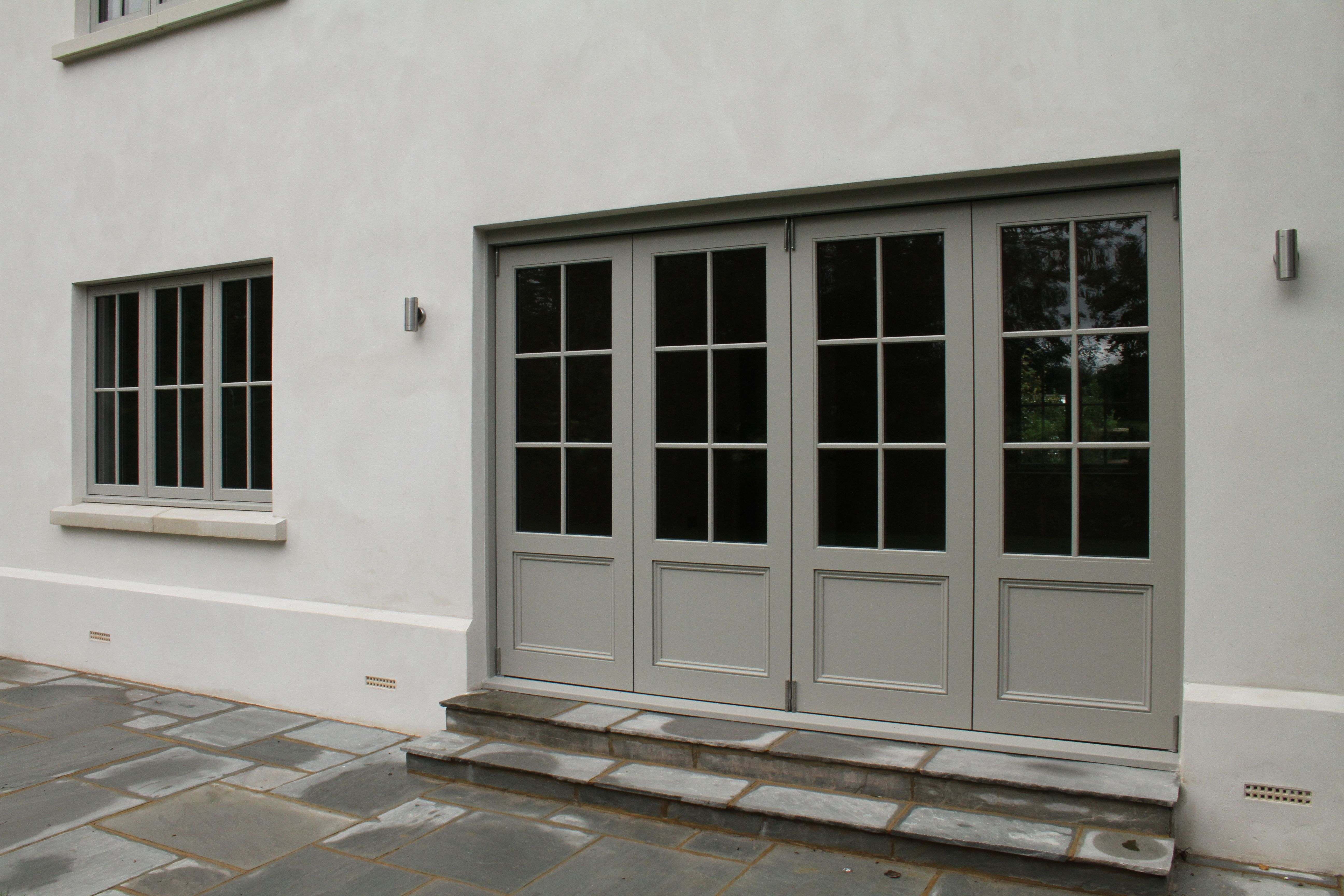 Wooden Bifold Doors Painted Farrow Ball Hardwick White Interior