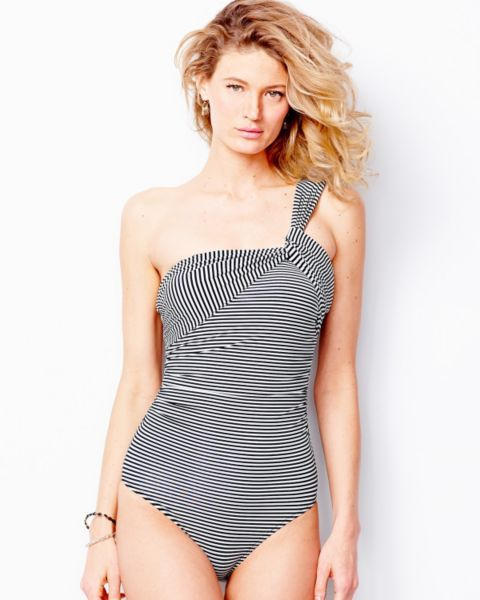 4eabaa42dfbce Garnet Hill Ruched Asymmetrical Swimsuit | Consider the style ...
