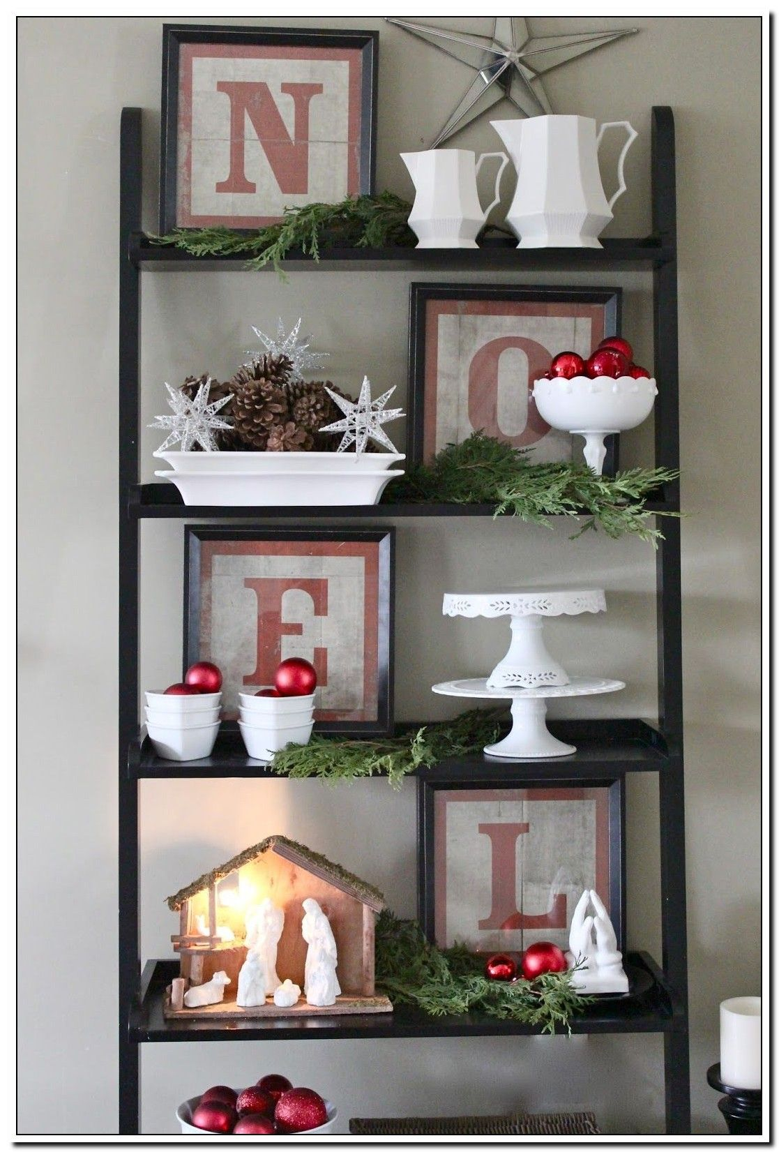 38 Reference Of Kitchen Shelves Christmas Decor Christmas Bookshelf Red Christmas Decor Christmas Decorations Rustic