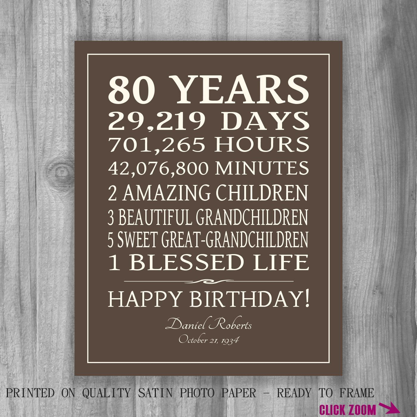 Ideas For 80 Year Old Birthday Party 80th BIRTHDAY GIFT Sign Print Personalized Art Mom Dad Grandma Best Friend Or Digital