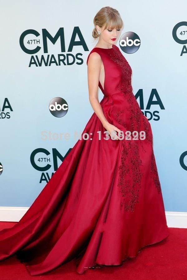2015 Real Sample Picture Elie Saab Evening Dress A Line Satin Evening Gown With Lace Appliques red Celebrity Dresses Crew Neck
