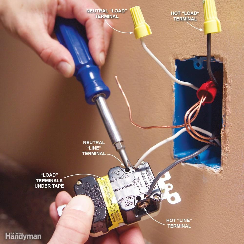 Top 10 Electrical Mistakes Diy Pinterest Wiring Ground Fault Outlet Solution Connect Power To The Line Terminals Gfci Circuit Interrupter Outlets Protect You From A Lethal Shock By Shutting Off