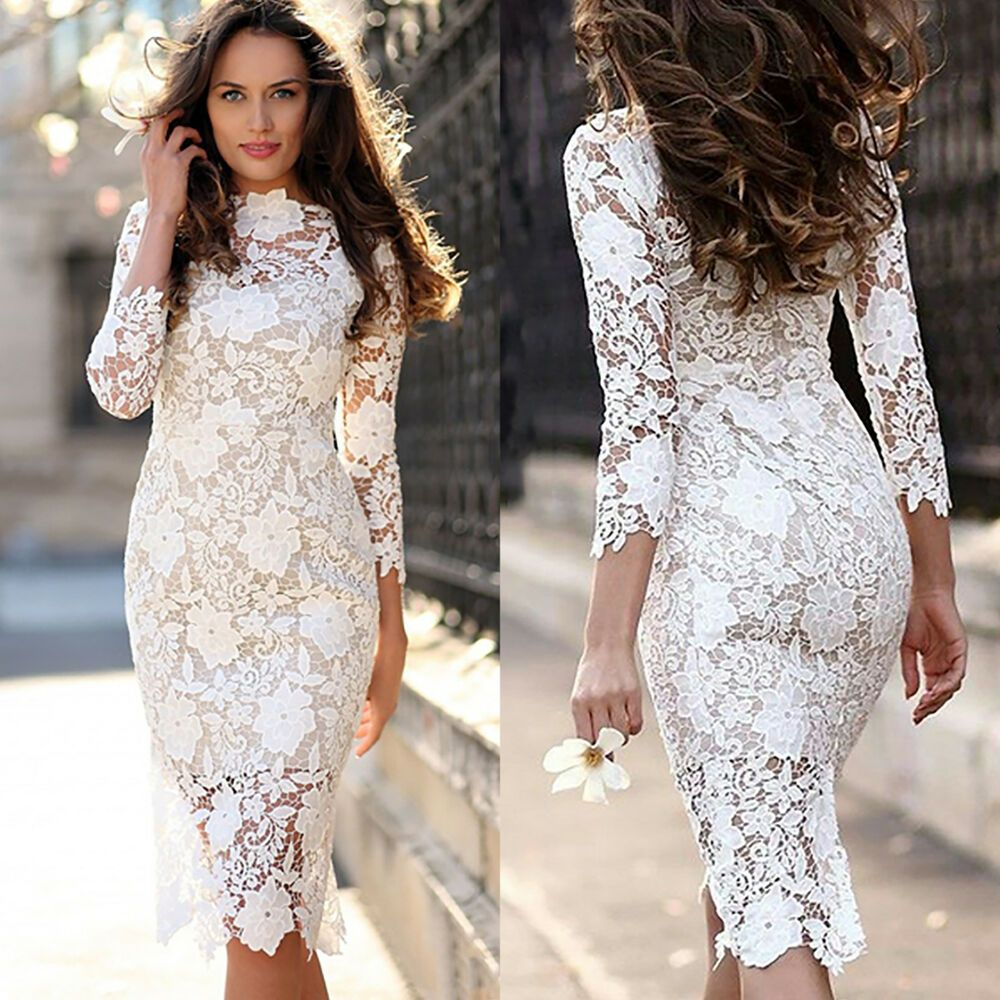 Womens Long Sleeve Lace Bodycon Pencil Dress Wedding Bridesmaid Cocktail Party Afflink Lace Bodycon Dress Long Sleeve White Lace Bodycon Lace Dress [ 1000 x 1000 Pixel ]
