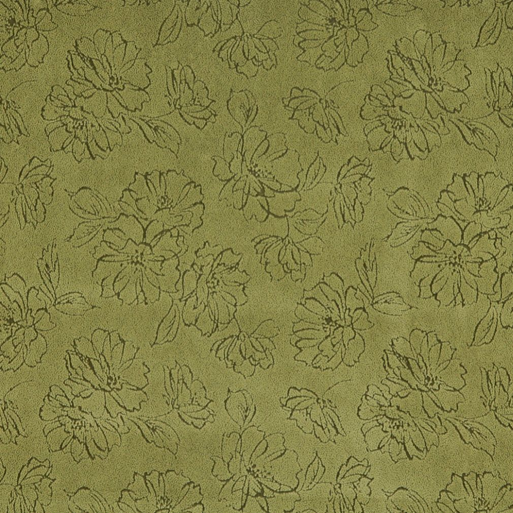 Green Floral Microfiber Upholstery Fabric By The Yard