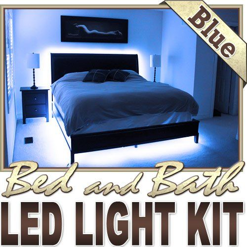 3.3\' ft Blue Bedroom Dresser Headboard LED Lighting Strip + Dimmer ...