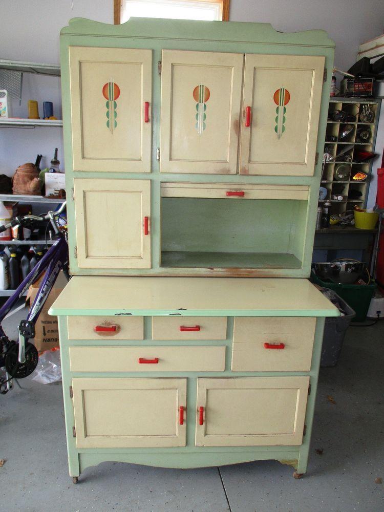 details about hoosier style oak sellers cabinet with flour bin rh pinterest com