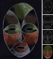 Murrettu väri - afrikkalainen naamio (taustaa).