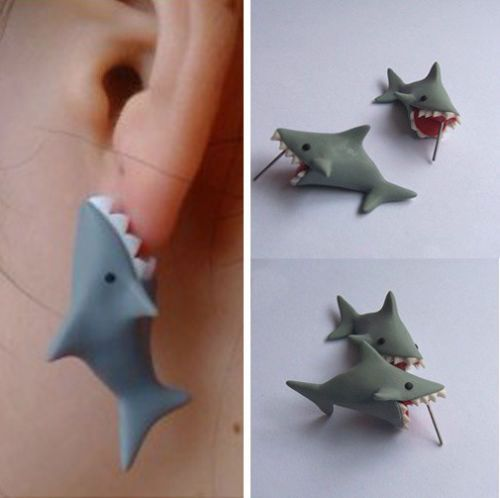 02bc39a2e Features: 100% New and 100% handmade. Material:Made of high-quality polymer  clay. The fierce shark snapped your ear,how do you feel? soooo cute!!!