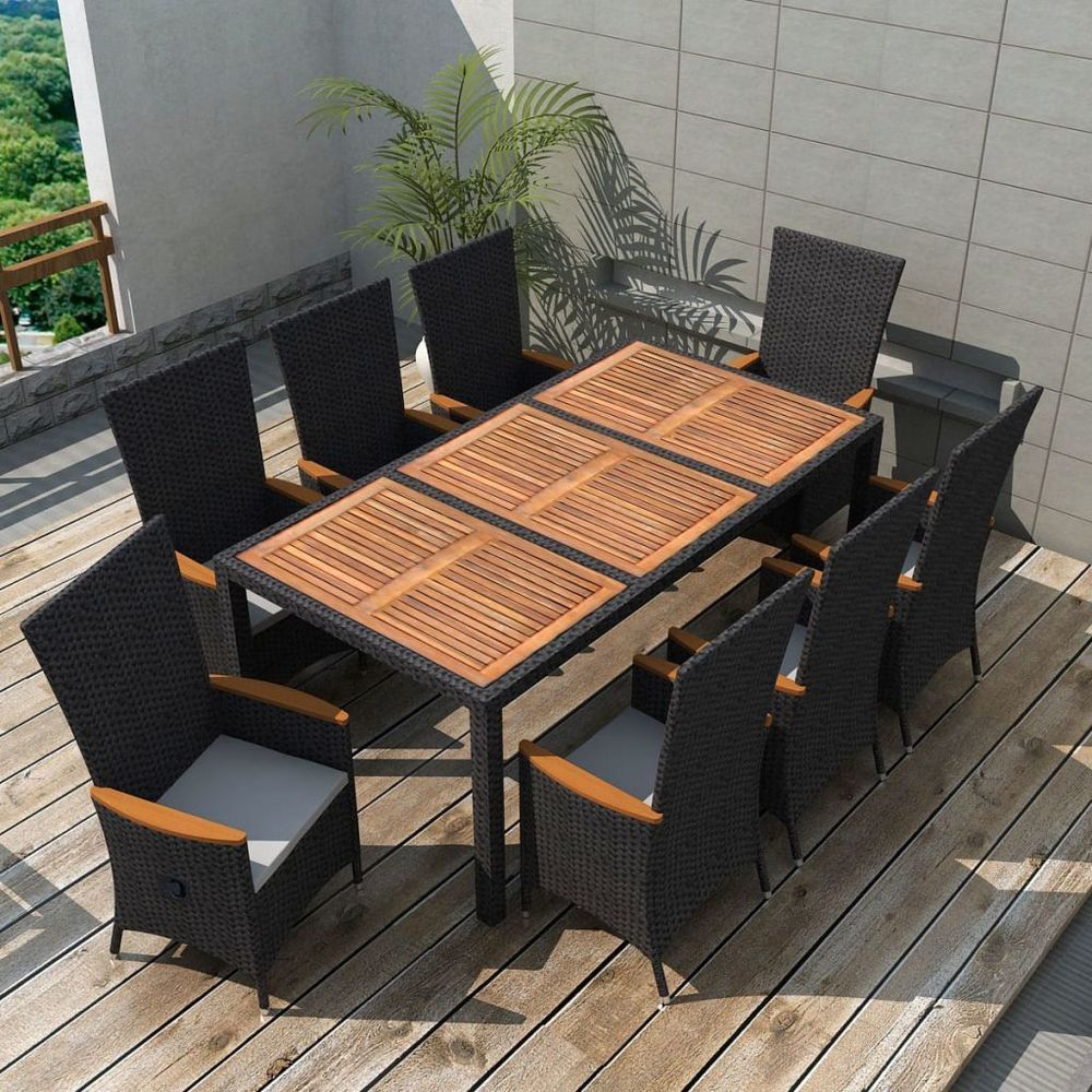 Vidaxl 17pc wicker rattan outdoor dining set garden table chairs acacia wood xxl