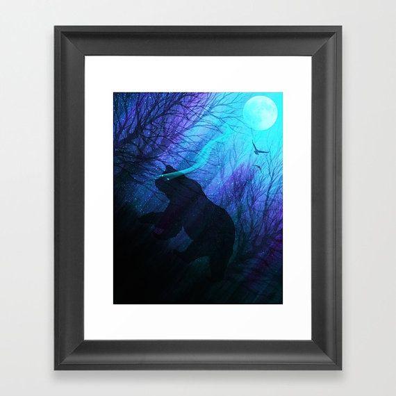 Framed art print bear art print space art space by TheMindBlossom, space art, galaxy art, bear silhouette, bear art, moon art, framed art print
