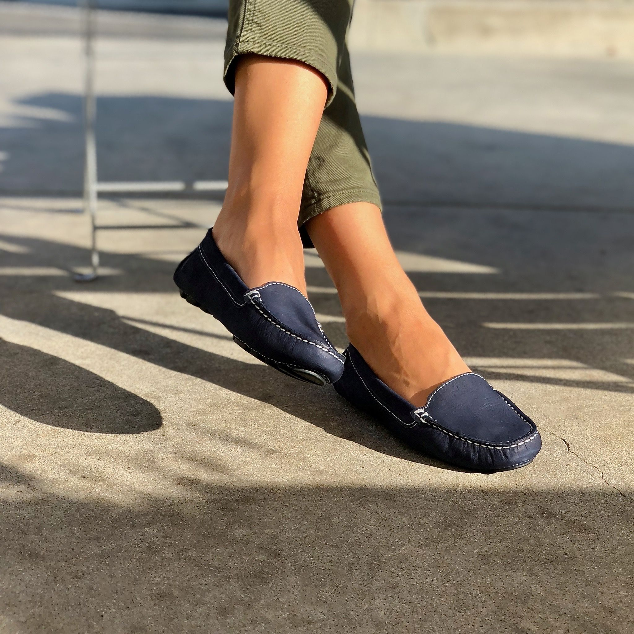 Navy Blue Designer Driving Loafers by