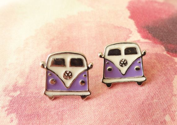 Hippie volkswagen earrings Purple Volkswagen Van by MyFunnyThings, $12.90