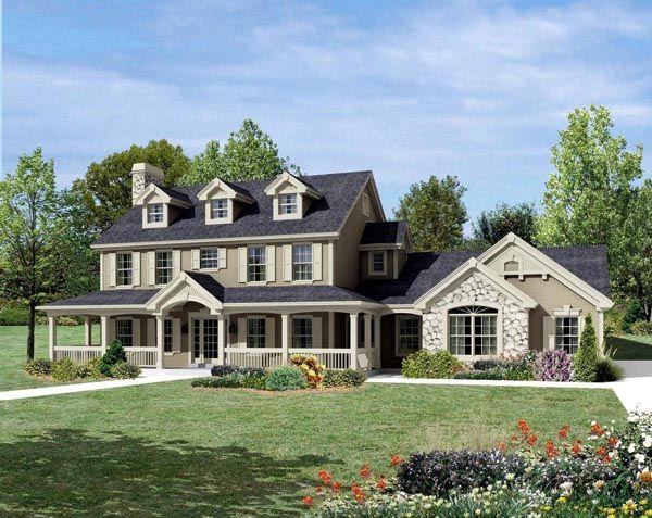 Cape Cod Colonial Country Farmhouse House Plan 95822 Farmhouse