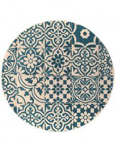 Teppich Rund Patchwork Mosaico Blau