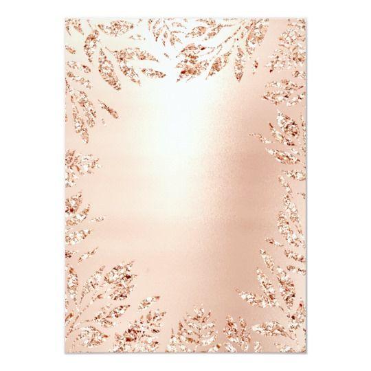 Pink Rose Gold Glitter Leafs Floral Frame Crystal Invitation   Zazzle.com   Gold glitter ...