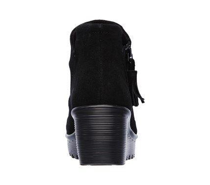 d83cea1aa935 Skechers Women s Parallel Triple Threat Memory Foam Wedge Booties (Black)