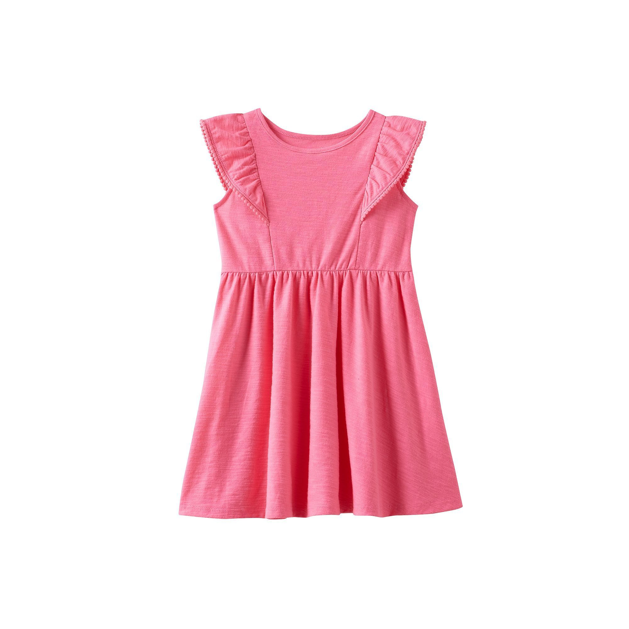 Toddler Girl Jumping Beans® Pom-Pom Trim Flutter Short Sleeve Solid Slubbed Dress, Size: 2T, Med Pink