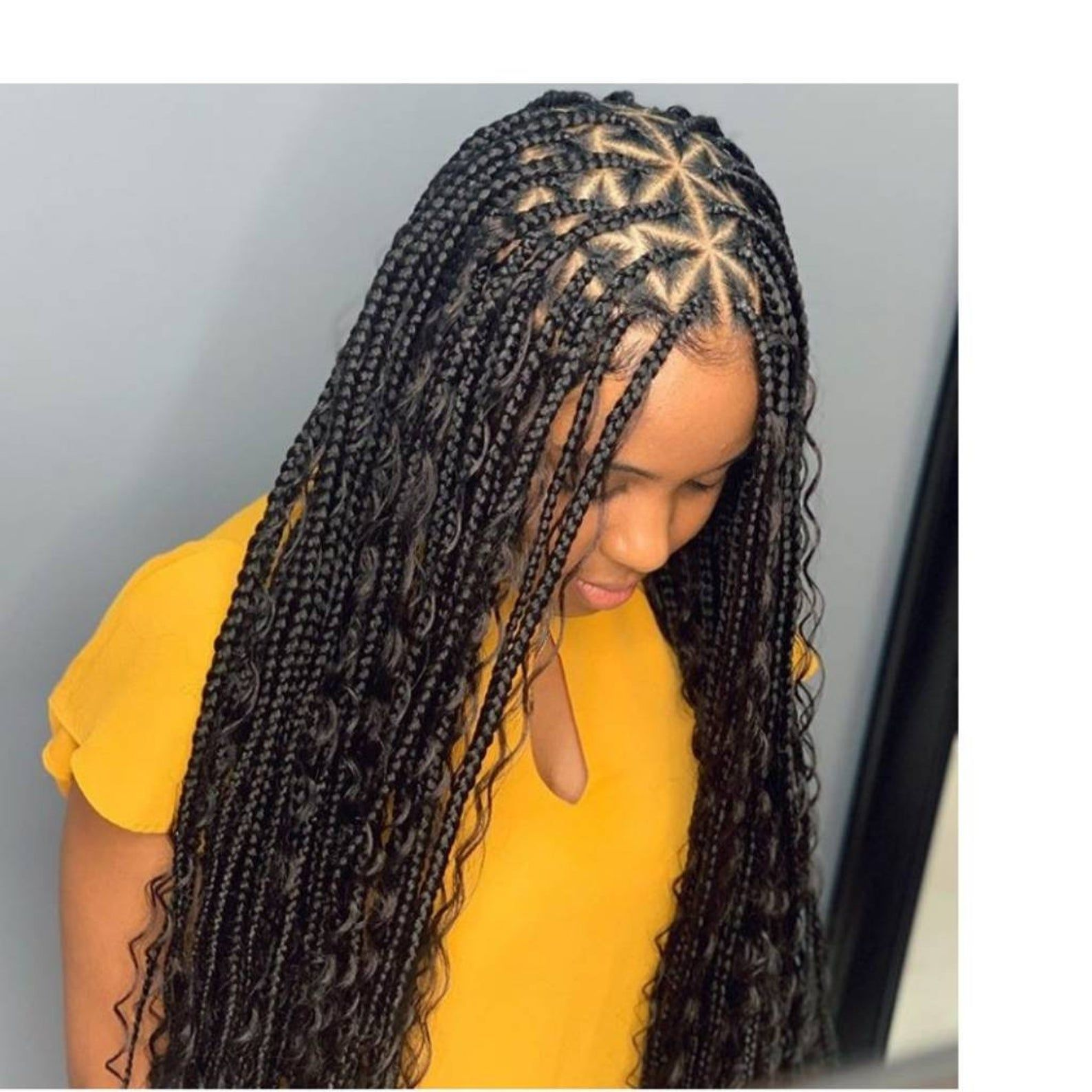 Full Lace Triangle Center Parts Box Braids Wig For Black