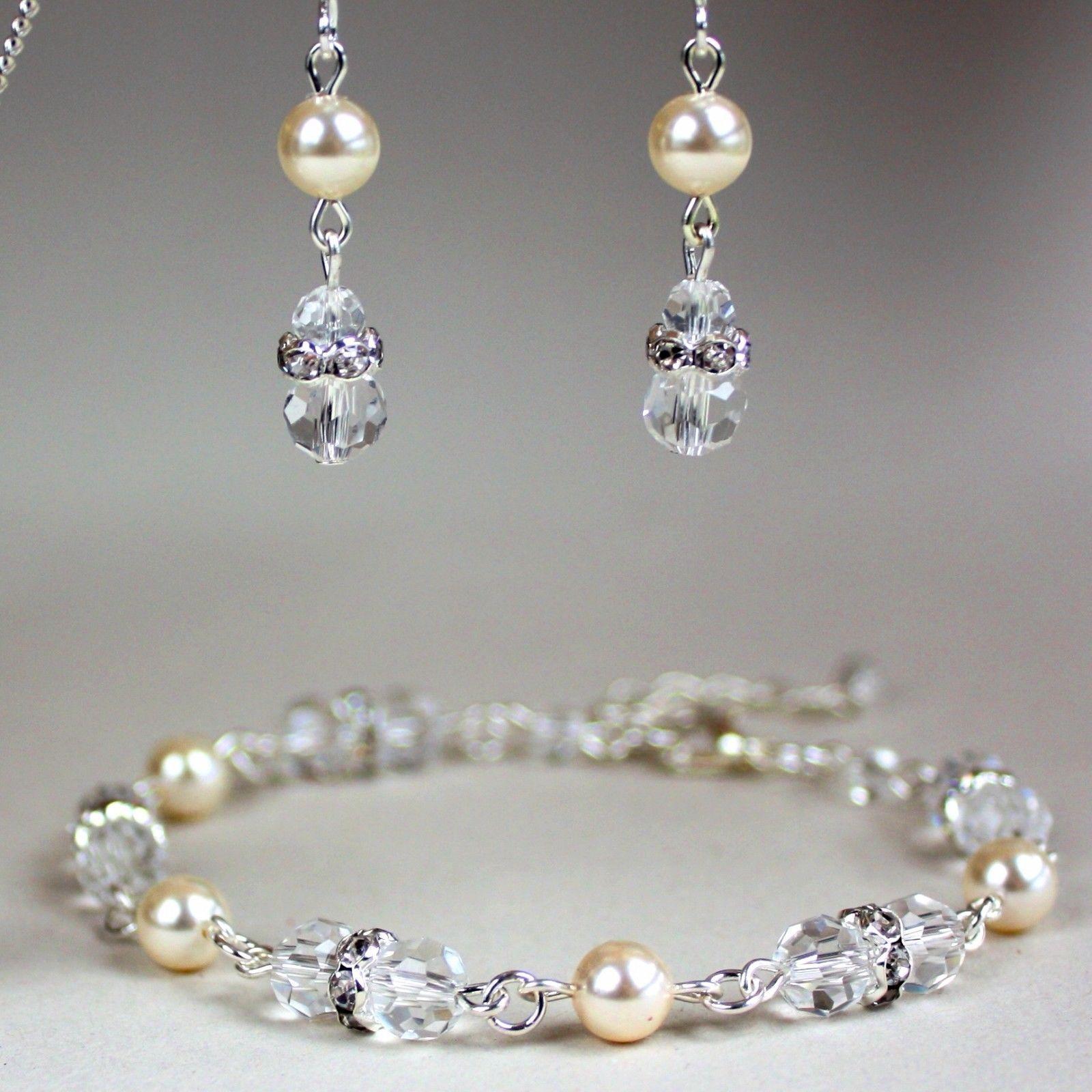 Cream Pearls Crystals Bracelet Earrings Silver Bridesmaid