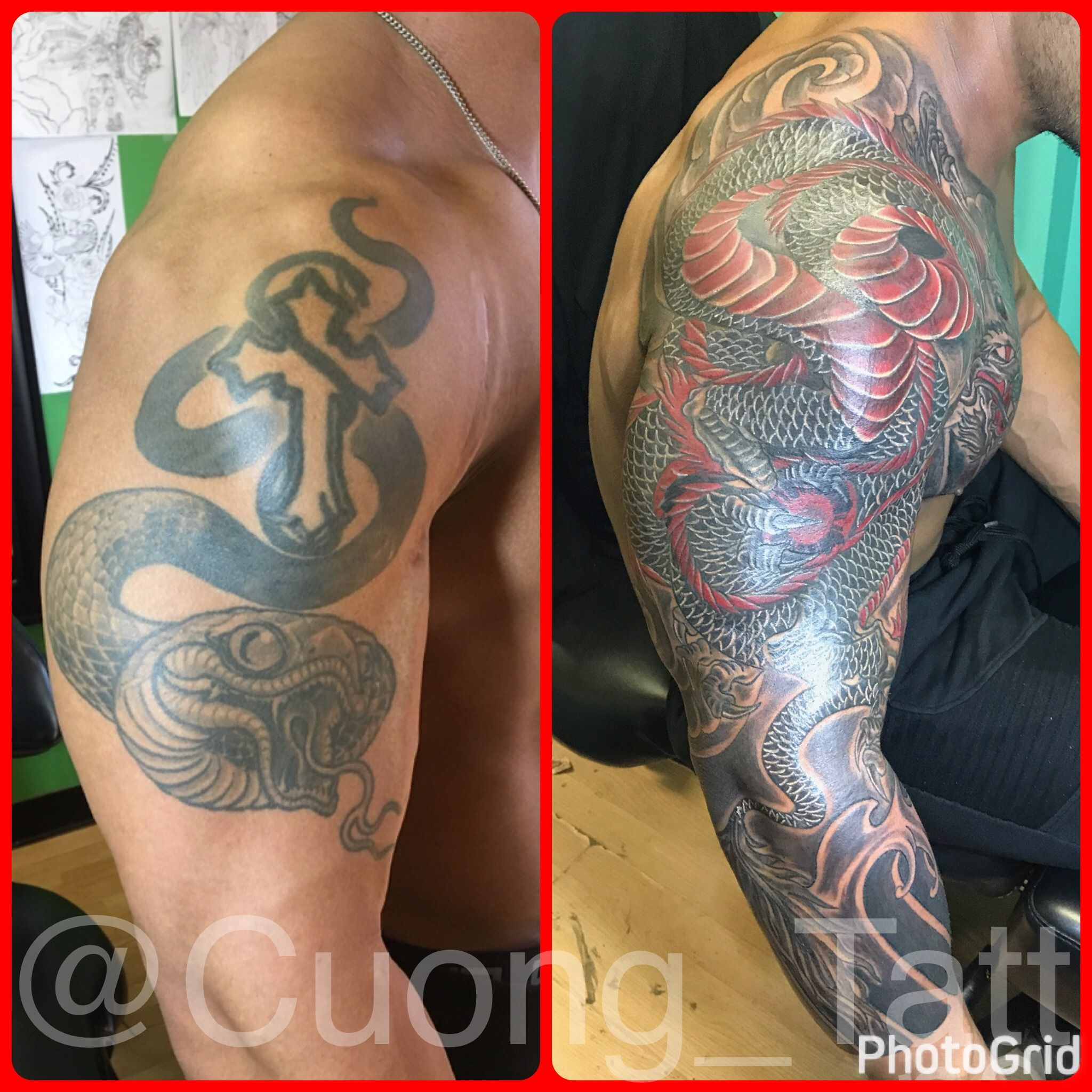Dragon 3/4 sleeve Japanese style cover up tattoo. Cover