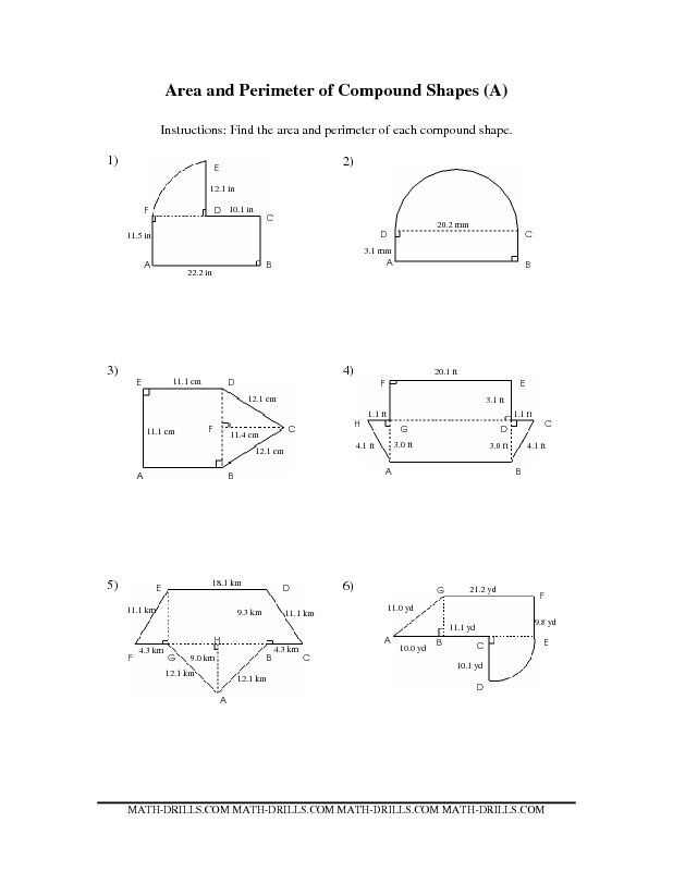 Compound Area worksheets | The Area and Perimeter of Compound ...