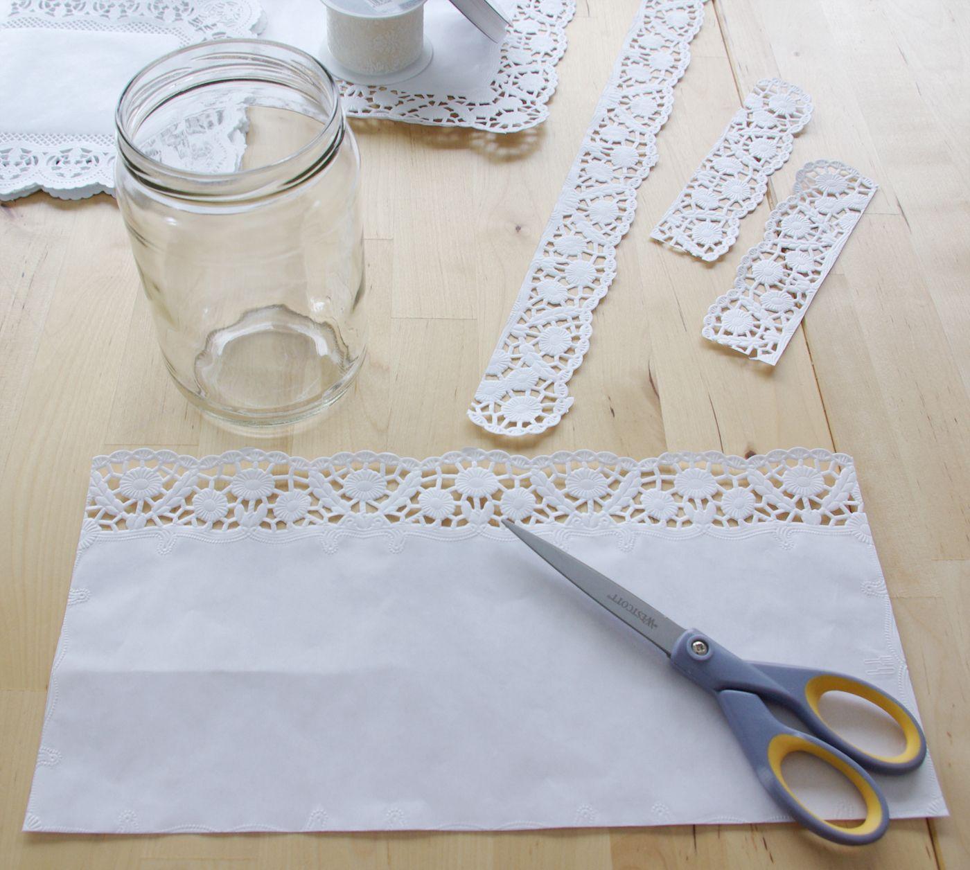 HochzeitsSpecial Windlichter Kerzen Deko Glas Spitze DIY Anleitung Variante 1 Material  diy