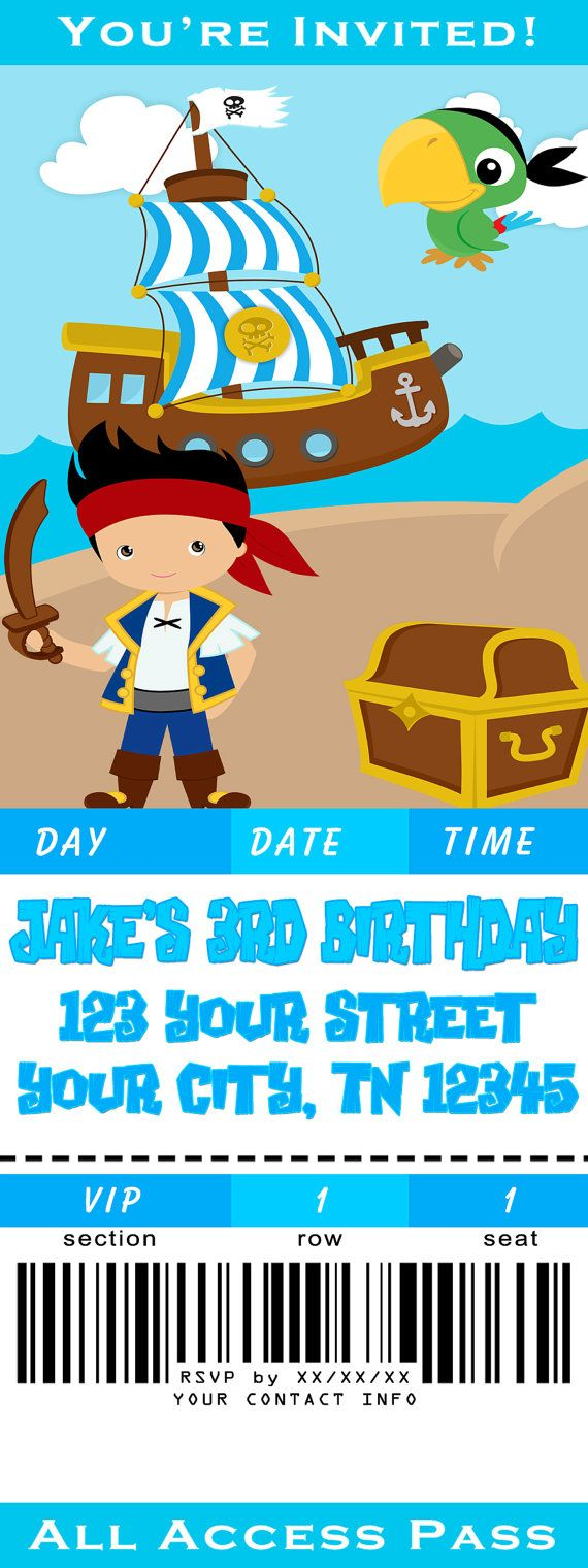 Nice Jake And The Neverland Pirates Birthday Invitation Model ...