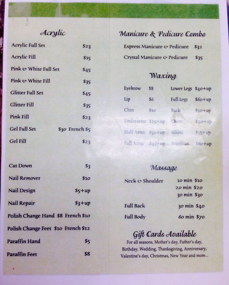Nail Salon Price List Detroit  Google Search  Varnished