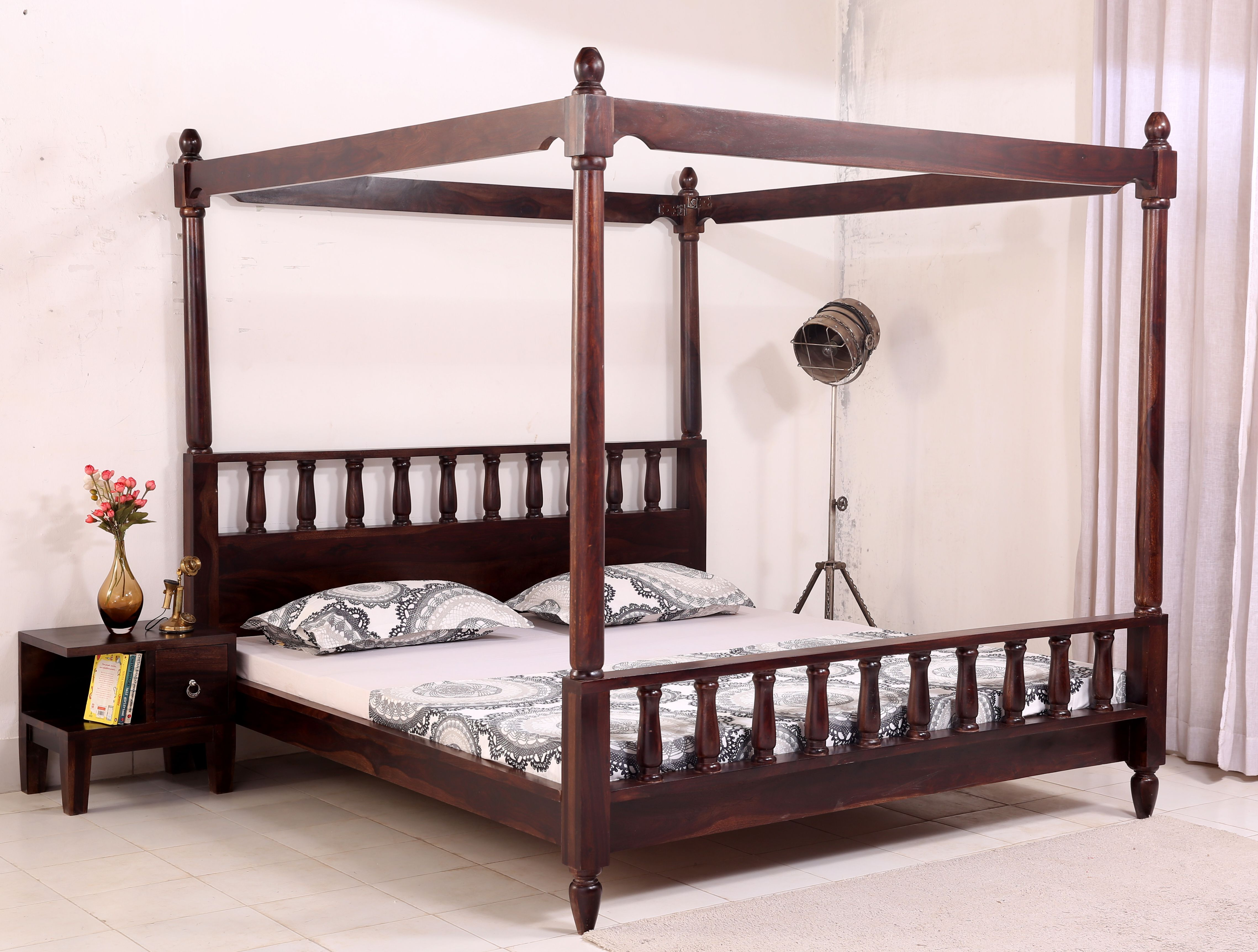 Buy Allure Poster Bed Without Storage King Size Mahogany Finish