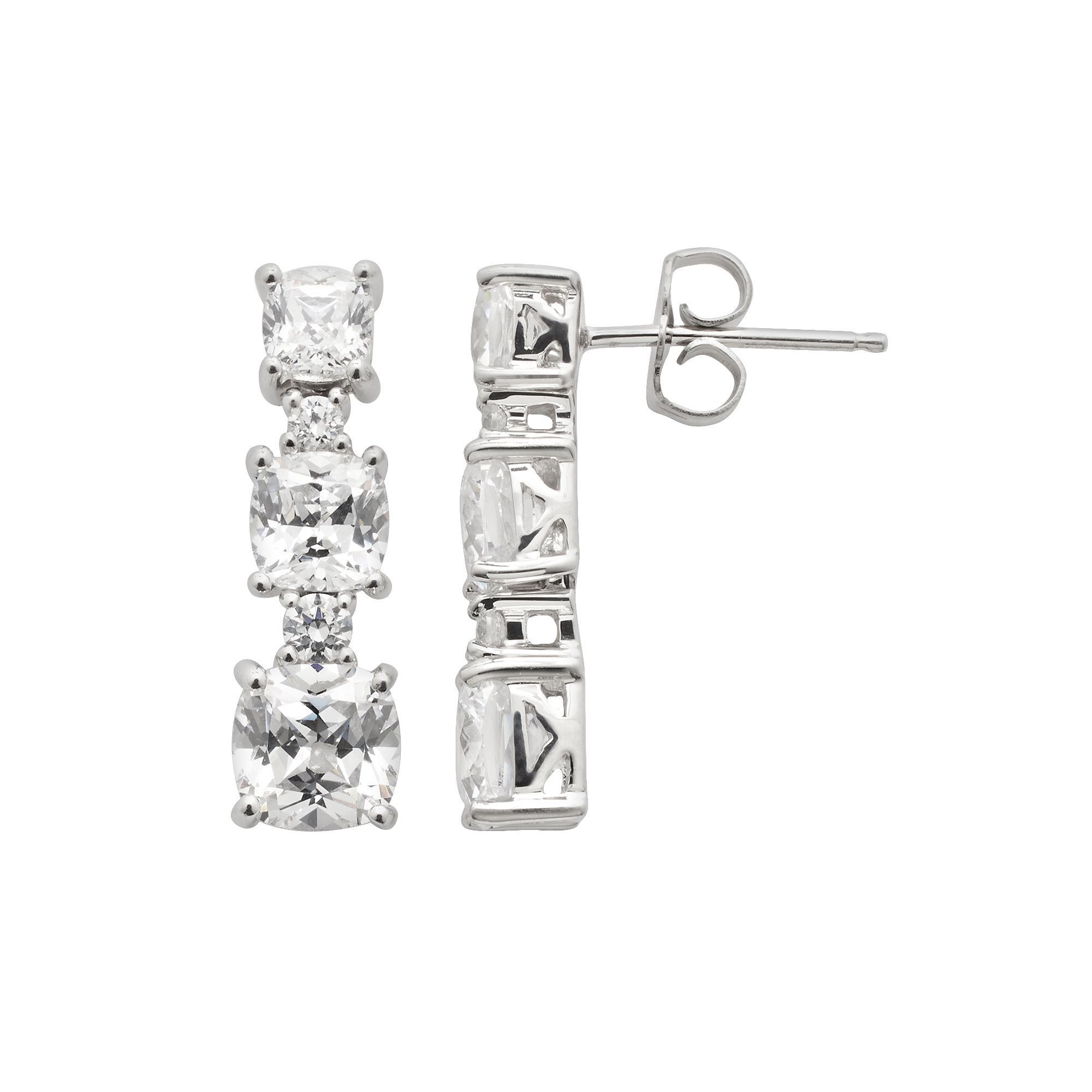 2f9e171f3 Emotions Sterling Silver Linear Drop Earrings - Made with Swarovski Cubic  Zirconia, Women's, White