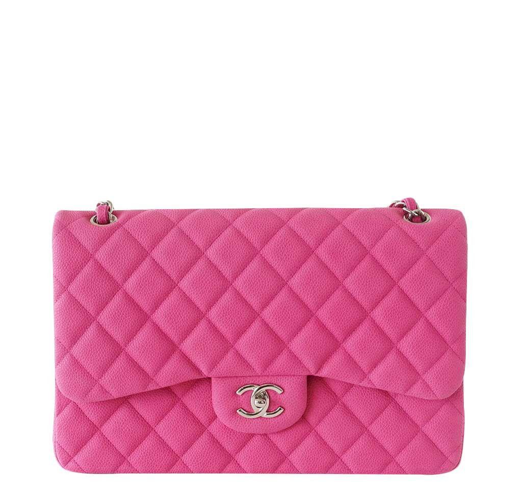 Chanel Double Flap Bag Fuchsia Caviar Leather Chanel Bag Jumbo Chanel Bag Chanel Handbags