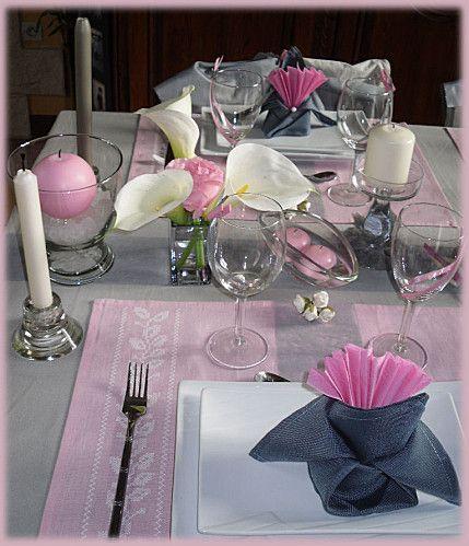 Rose et gris perle d co de table de salle pinterest gris perle gris et roses - Chemin de table gris perle ...