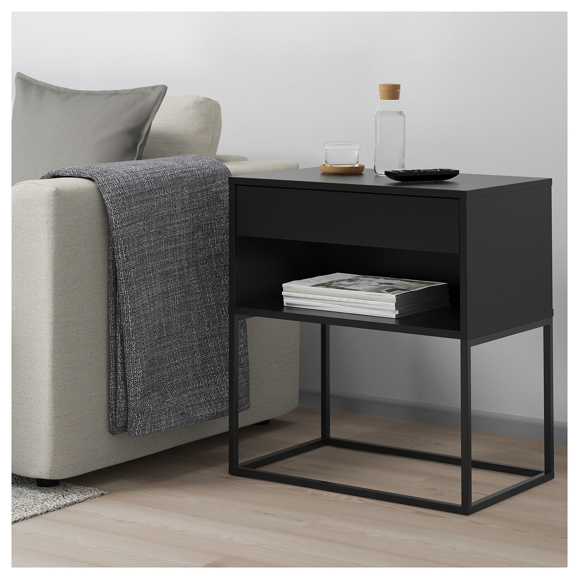 Ikea Vikhammer Nightstand Black In 2019 Products